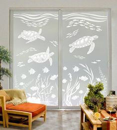 Enjoy the timeless beauty of etched glass and life under the sea with this scene of 3 dolphins visiting a tropical reef teaming with fish, coral… Wallpaper For Windows, Wallpaper Pc, Horse Wallpaper, Window Privacy, Hawaii Homes, Most Beautiful Wallpaper, Window Design, Glass Etching, Shower Doors
