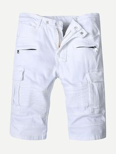 Stylish Zipper Pocket Fold White Short Jeans For Men is hot sale at NewChic, Buy best Stylish Zipper Pocket Fold White Short Jeans For Men here now! Mens White Shorts, White Denim, Denim Pants, Jean Shorts, White Trousers, Type Of Pants, Jeans Style, Stretch Denim, Zipper
