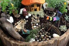 Fairy Garden Wine Barrel