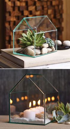 Versatile Greenhouse Terrarium - Fill with an assortment of succulents, greenery, or use it as a beautiful display for flickering tea lights or votives. ☀