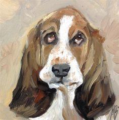 "Daily Paintworks - ""Bassett portrait"" - Original Fine Art for Sale - © Annette Balesteri"