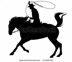 raster - cowboy riding a horse and throwing lasso fine silhouette - black outline over white (vector version is available in my portfolio) b...