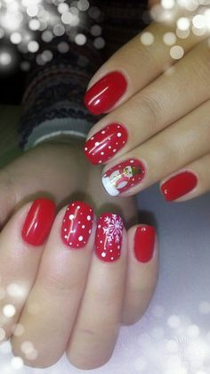 56 Winter And Christmas Nail design For Your Style - Fashionmgz Christmas Present Nails, Cute Christmas Nails, Xmas Nails, Holiday Nails, Red Nails, Hair And Nails, Holiday Nail Designs, Nail Art Designs, Cute Nails