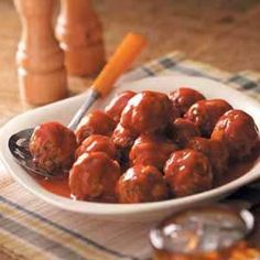 Venison Meatballs.  I make this frequently; it's a good way to cook ground venison & easily adaptable for the crock pot.  Everyone loves it!