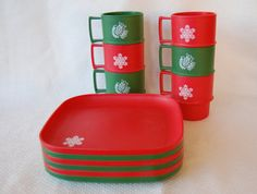 Set of 12 Vintage Tupperware Christmas Lunch Plates and Mugs Red and Green Vintage Design Snowflake and Dove Stamp on Etsy, $30.00