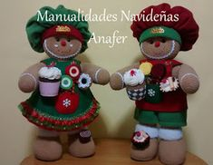 Manualidades Anafer: Señor y Señora Jengibres Mary Christmas, Felt Christmas Ornaments, Christmas Decorations, Xmas, Holiday Decor, Gingerbread, Teddy Bear, Diy Crafts, Cupcakes