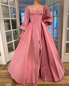 Details: - Exquisite Taffeta fabric - Pink sherbet color - Buttoned A-line style with open skirt and sleeves - For special occasions Elegant Dresses, Pretty Dresses, Beautiful Dresses, Vintage Prom Dresses, Flapper Dresses, Mini Dresses, Short Dresses, Rose Gown, Fantasy Gowns