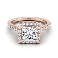 14k Gold IGI-certified 1 2/5ct TDW Princess-cut Diamond Round Halo Engagement Ring