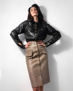 Leather Shirt Dress, Leather Dresses, Leather Skirts, Leather Tops, Couture Skirts, Latex Dress, Leather Fashion, Skirt Fashion, Sexy Outfits