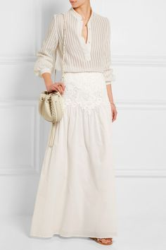 ZEUS+DIONE (blouse). SEE BY CHLOÉ (skirt). K JACQUES ST TROPEZ (sandals). CHLOÉ (bag).