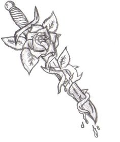 dagger tattoo - similar concept, dagger with vines Dark Art Drawings, Art Drawings Sketches Simple, Pencil Art Drawings, Tattoo Sketches, Cute Drawings, Tattoo Drawings, Body Art Tattoos, Feather Tattoos, Beautiful Drawings