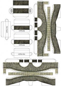 Cut out stone Bridge 01 - Model Trains Paper Bridge, Bridge Card, Ho Scale Buildings, Free Paper Models, Paper Structure, House Template, Glitter Houses, Model Train Layouts, Paper Houses