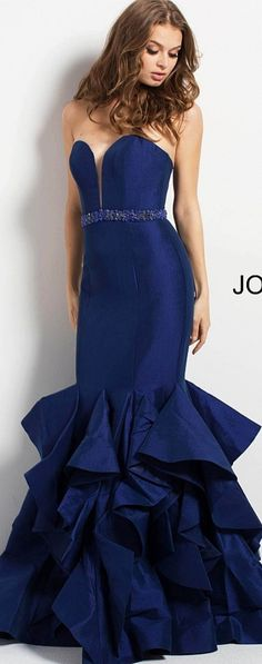 JOVANI ⚘In Navy Blue Mermaid-Style Funnel Skirt w. Multiple Ruffled Organzas, Beaded Waist Belt, and  Strapless Plunging Neckline on the Evening Gown ⚘#46921. ⚘Style Code: #46921 Available Colors: Black, Burgundy, Navy Available Sizes: 00 - 24 ⚘