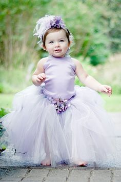 Adorable flower girl dress with lavender hydrangea, satin and tulle.  Gorgeous.