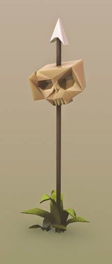 Pirates and Skeletons: skull on spear