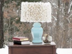 Spray painted lamp base {Krylon Ocean Breeze in glossy} and Anthropologie inspired DIY burlap lamp shade.