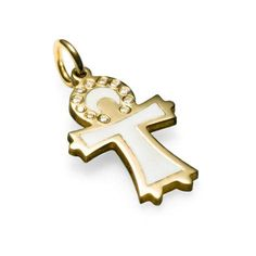 Blessed by an Angel pendant in 18kt gold w. diamonds and white enamel. Design Emquies-Holstein