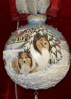 Sheltie Family Snow Day Christmas Ornament