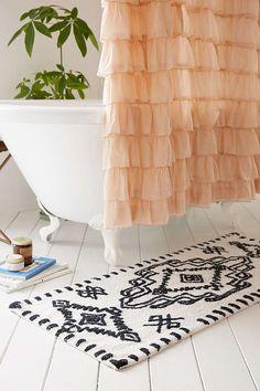 Mini Berber Bath Mat   Urban Outfitters Minimalist Home Decor, Minimalist Bathroom, Minimalist Interior, Bath Rugs, Bathroom Rugs, Small Bathroom, Bathrooms, Bathroom Ideas, Bathroom Inspo