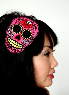 Sugar Skull Headband Dia de los Muertos Hot Pink by JanineBasil, £18.00