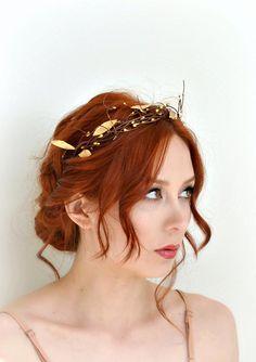 Leaf crown golden bridal crown grecian goddess by gardensofwhimsy