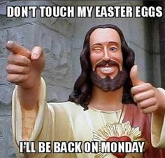A Buddy Christ meme. Caption your own images or memes with our Meme Generator. Memes Humor, Funny Memes, Hilarious, News Memes, Meme Meme, Funniest Memes, Funny Easter Jokes, Buddy Christ, Cool Jesus