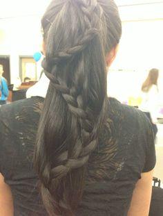 Ponytail braid on fantastically thick Asian hair
