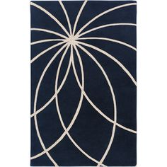 Hand-tufted Wellington Dark Blue Floral Wool Rug (5' x 8') | Overstock.com Shopping - The Best Deals on 5x8 - 6x9 Rugs