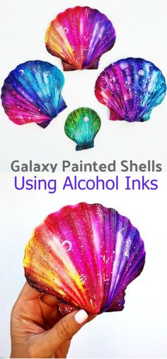 Alcohol inks are the perfect art supply for making galaxy painted shells. Learn how to make these beautiful decorative shells with this step-by-step guide on using alcohol inks. Arts And Crafts For Teens, Spring Crafts For Kids, Diy Arts And Crafts, Kids Crafts, Sea Crafts, Seashell Crafts, Nature Crafts, Seashell Projects, Alcohol Ink Crafts