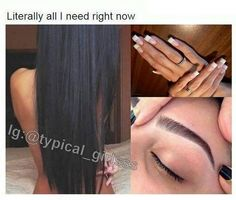Eyebrows done. and hair done. Beauty Makeup, Hair Makeup, Hair Beauty, My Champion, Glo Up, Describe Me, True Facts, Queen, True Quotes