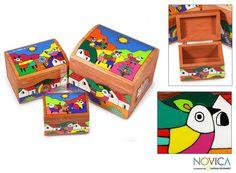 Set of 3 Pinewood 'Animal Friends' Boxes (El Salvador)