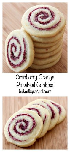 Light and flavorful cranberry-orange pinwheel cookie recipe from bakedbyrachel -- will probably do with raspberries instead of cranberries Pinwheel Cookies, Xmas Cookies, Yummy Cookies, Yummy Treats, Sweet Treats, Thumbprint Cookies, Chip Cookies, Cookies Light, Almond Cookies