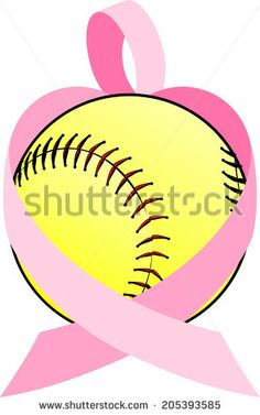 illustration of a breast cancer ribbon forming a heart wrapped around a softball