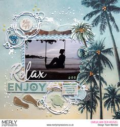 Travel Scrapbook Pages Embellishments Beach Scrapbook Layouts, Travel Scrapbook Pages, Vacation Scrapbook, Scrapbooking Layouts, Wedding Scrapbook Pages, Scrapbook Quotes, Scrapbook Designs, Stampin Up, Recipe Scrapbook