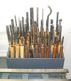 Lathe tools can be found in the studio.