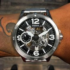 Nate Mechanical Stainless Steel Watch by Fossil.:@dreamscalisansur