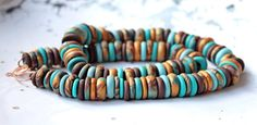 "Necklace ""Turquoise, brown and gold""  of  polymer clay"