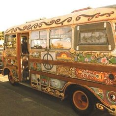 My grandson and I were driving and saw a van painted hippie style. I threatened to buy one and drive him to school in it. He nearly died. Ha ha