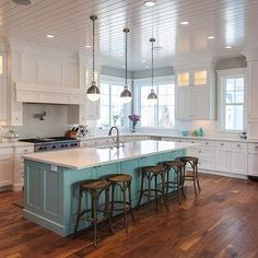 House of Turquoise: Craig Veenker (beautiful white kitchen with turquoise island! House Of Turquoise, Kitchen Redo, New Kitchen, Kitchen Ideas, Kitchen Makeovers, Blue Kitchen Island, Turquoise Kitchen Cabinets, Painted Kitchen Island, Painted Island