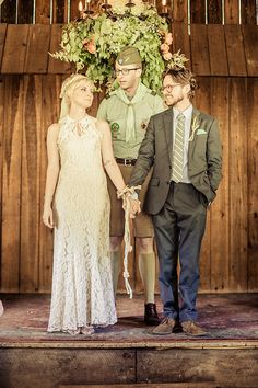 "We've seen Summer-camp-inspired weddings (including one POPSUGAR editor's fun big day), but this might be first one I've seen coordinated and officiated by camp scouts! It's all very Moonrise Kingdom-esque. Photographer Mollie Hull of M and E Photo Studio had this to say about the sunny wedding that took place at Camp Sky Ranch: ""Raun and Morgan brought all their friends and family from New York, Chicago, Florida, and Kansas City out to Blowing Rock, NC, for a destination Summer-camp wedding. Located at an old boy-scout camp, their wedding was officiated and coordinated by camp scouts, complete with a flag raising and trumpet calls. A full moon, deep woods, and the Summer solstice made this wedding magic for everyone who attended."""