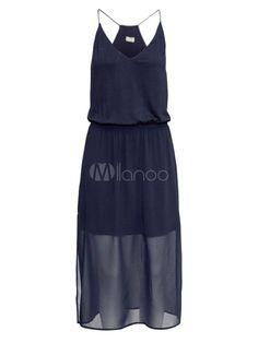 Robe vintage fabuleuse bleu foncée très en vogue et col V fendue - Milanoo.com