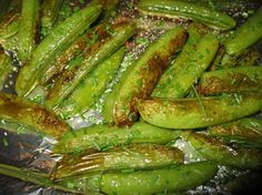 Roasted Sugar Snap Peas from Food.com:     Cook a little longer, but yummy!!!  This recipe was adapted from Bon Appetit Magazine...very easy and delicious side dish.