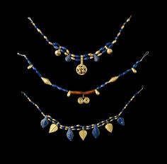 Sumerian necklaces. Jewelry from The Royal Tombs of Ur.