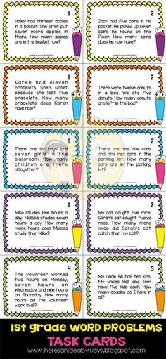 $ First Grade Math Word Problems - 63 task cards - Common Core: