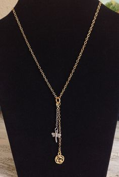 Silver dragonfly and gold plated Y Necklace, multi color necklace, dragonfly and rose pendants