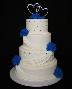 Wedding Cakes On a simpler smooth cake this swooshy icing seems to tie the layers together without &; Wedding Cakes On a simpler smooth cake this swooshy icing seems to tie the layers together without &; Royal Blue Wedding Cakes, Elegant Wedding Cakes, Cool Wedding Cakes, Beautiful Wedding Cakes, Gorgeous Cakes, Wedding Cake Designs, Pretty Cakes, Royal Blue Cake, Royal Blue Wedding Decorations