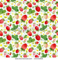 Seamless watercolor pattern with cute strawberries