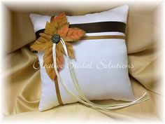 Ivory Autumn Fall Wedding Ring Bearer Pillow