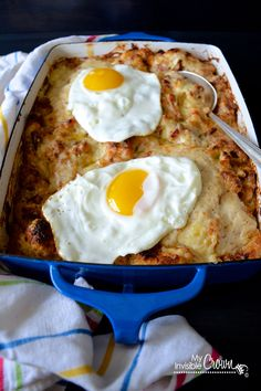 Deconstructed Croque Madame--really a bread pudding with ham and my favorite of all cheeses: gruyere!