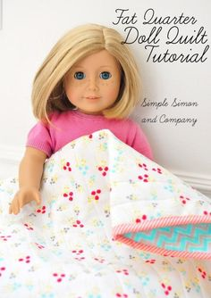 Fat Quarter Doll Quilt Tutorial At our house I have a girlie who just had a birthday and received her dear friend Kit, one of the American Girl dolls. And well, Kit has been played with and played with…and so we are busy at our house making some accessori American Girl Outfits, American Girl Crafts, American Doll Clothes, American Girls, Sewing Doll Clothes, Sewing Dolls, Doll Clothes Patterns, Doll Patterns, Quilt Patterns